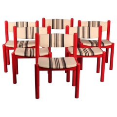 Set of 6 Red Chairs