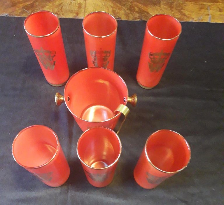 Set of 6 Red Cocktail Glasses, Golden Leaf, and Ice Bucket, Midcentury, France 1