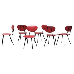 Set of 6 Red Kembo Wire Frame Dining Chairs