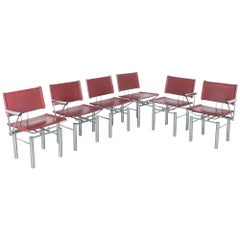Set of 6 Red Leather Hans Ullrich Bitsch Chairs Series 8600