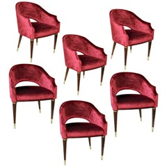 Set of 6 Red Velvet Armchairs, Midcentury Style, Luxury Details, Italia