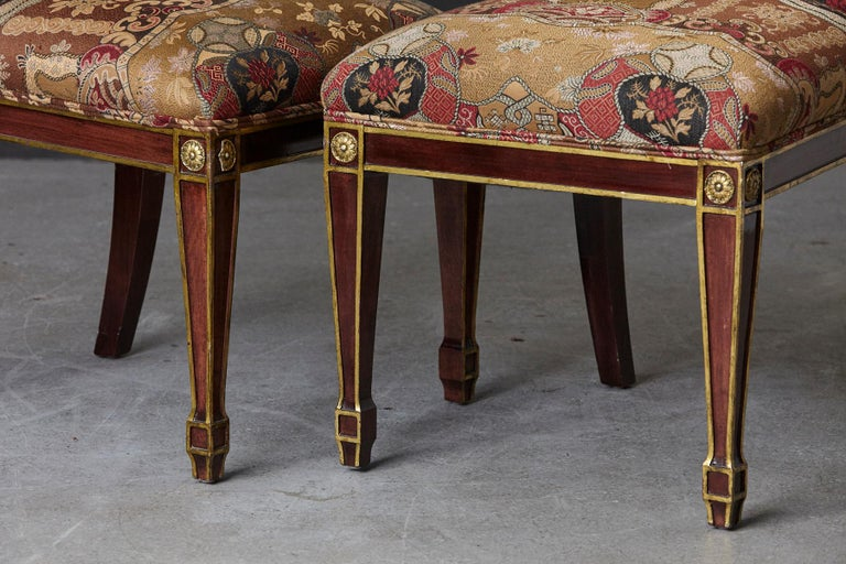 Set of 6 Regency Dining Chairs with Gild Elements For Sale 3