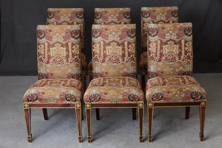 American Set of 6 Regency Dining Chairs with Gild Elements For Sale