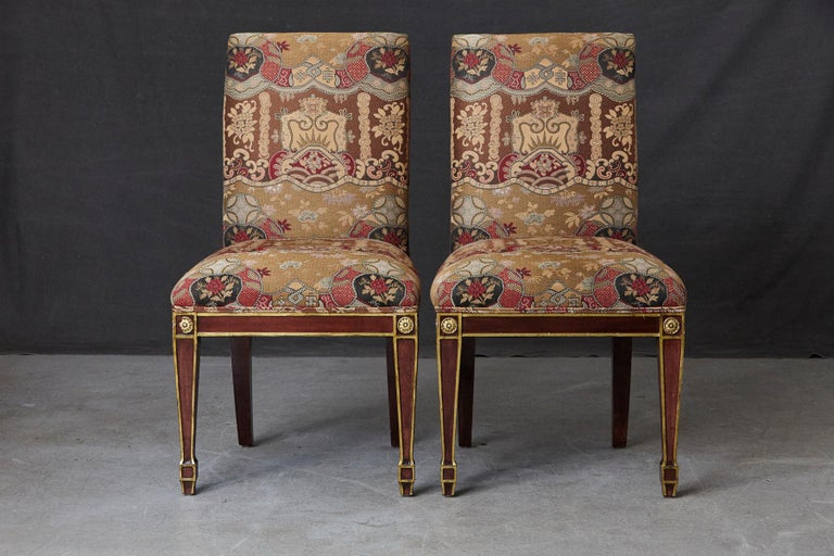 Set of 6 Regency Dining Chairs with Gild Elements In Good Condition For Sale In Weston, CT
