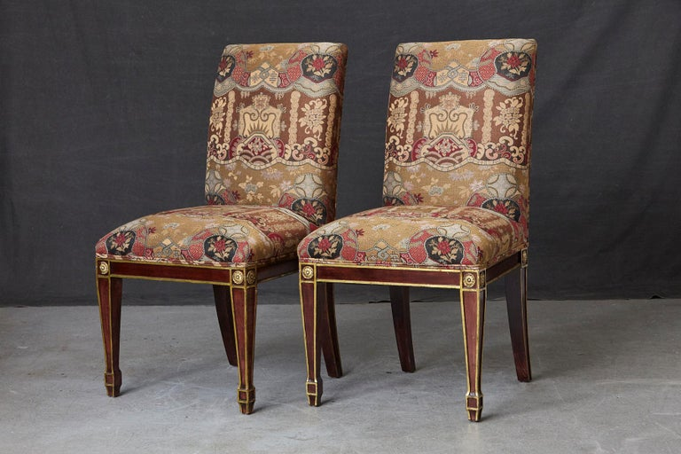 Late 20th Century Set of 6 Regency Dining Chairs with Gild Elements For Sale