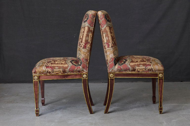Fabric Set of 6 Regency Dining Chairs with Gild Elements For Sale