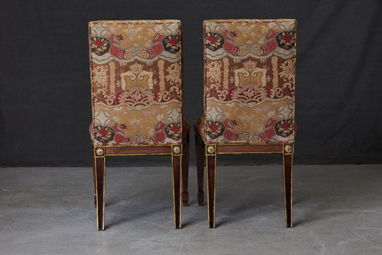 Set of 6 Regency Dining Chairs with Gild Elements For Sale 1