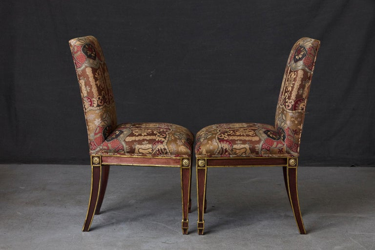 Set of 6 Regency Dining Chairs with Gild Elements For Sale 2