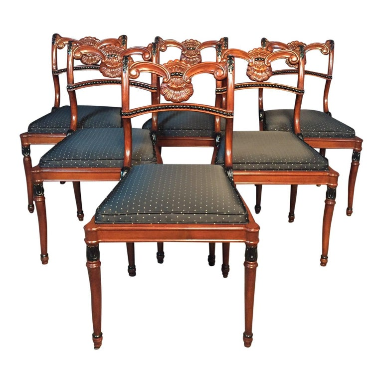 Set of 6 Regency Style Dining Room Chairs For Sale