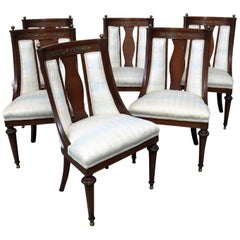 Set of 6 French Regency Style Bronze Mounted Dining Room Chairs
