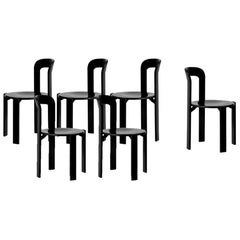 Mid-century modern, Set of 6 Rey, Black Dining Chairs by Dietiker, (Design 1971)