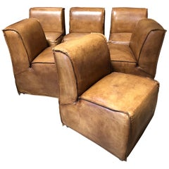 Set of 6 RH Bruno Chairs, Leather