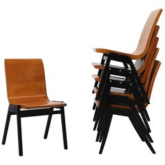 Set of 6 Roland Rainer Plywood Stacking Chairs