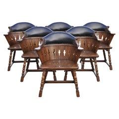 Set of 6 Romweber Viking Oak Leather Back Captains Dining Armchairs