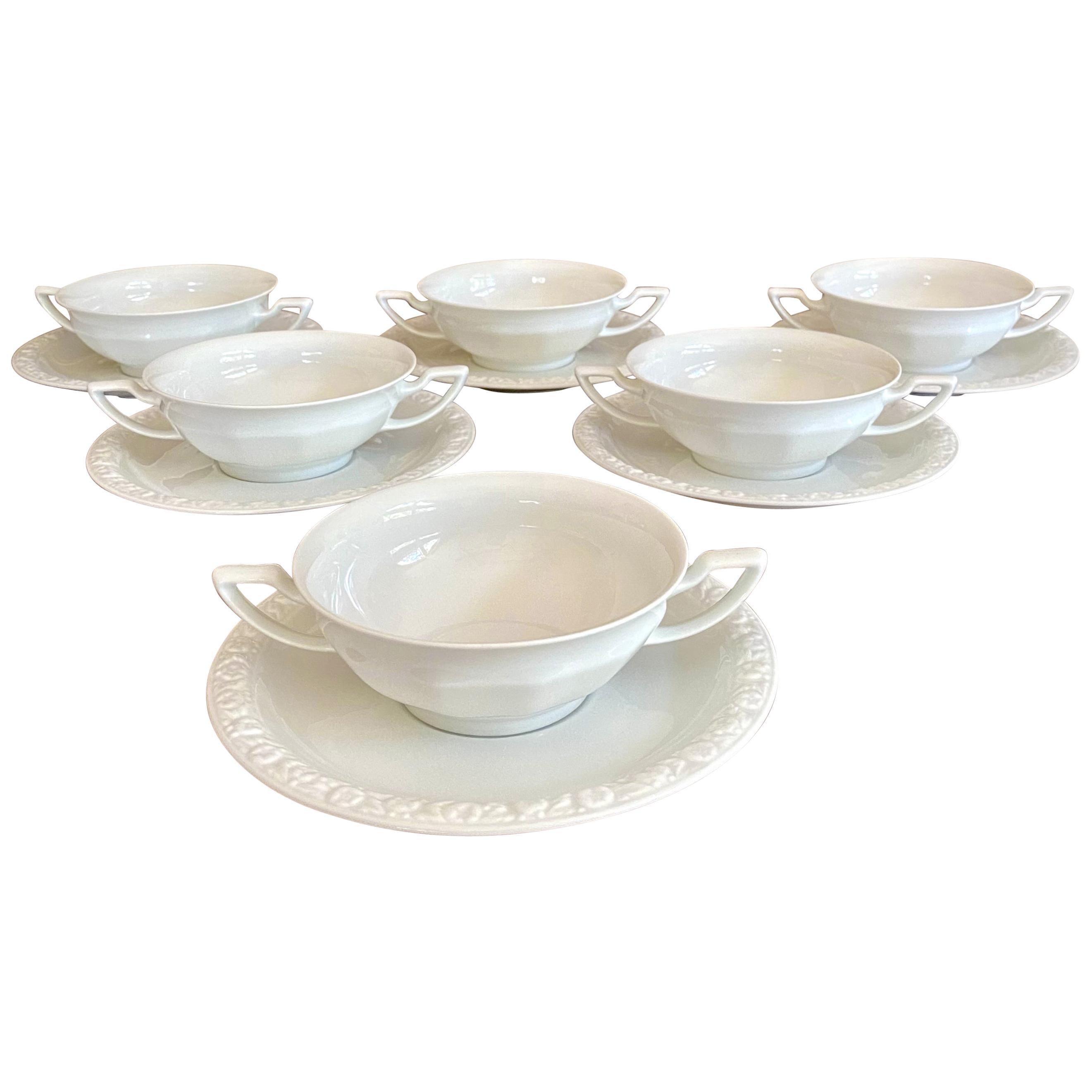 "Set of 6 Rosenthal ""Maria"" Cream Soups w. Saucers"