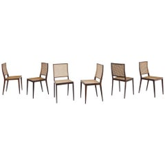 Set of 6 Rosewood and Cane Chairs, Joaquim Tenreiro, 1960s, Brazilian Design