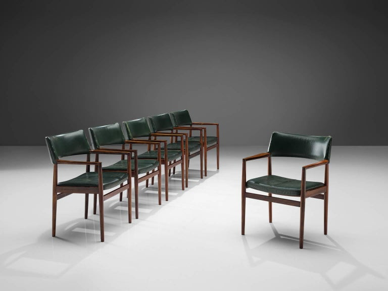 Set of 6 rosewood Bondo Gravesen armchairs, in original green leather, Denmark 1960s  The original dark green leather is in used vintage condition. It can either be professionally restored or reupholstered, which is advised. Please feel free to ask