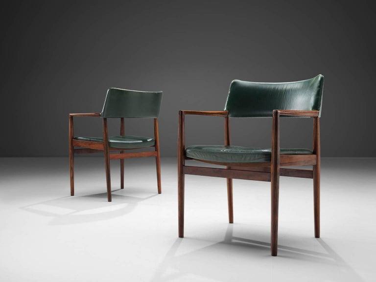 Danish Set of 6 rosewood Bondo Gravesen armchairs, in original green leather, Denmark