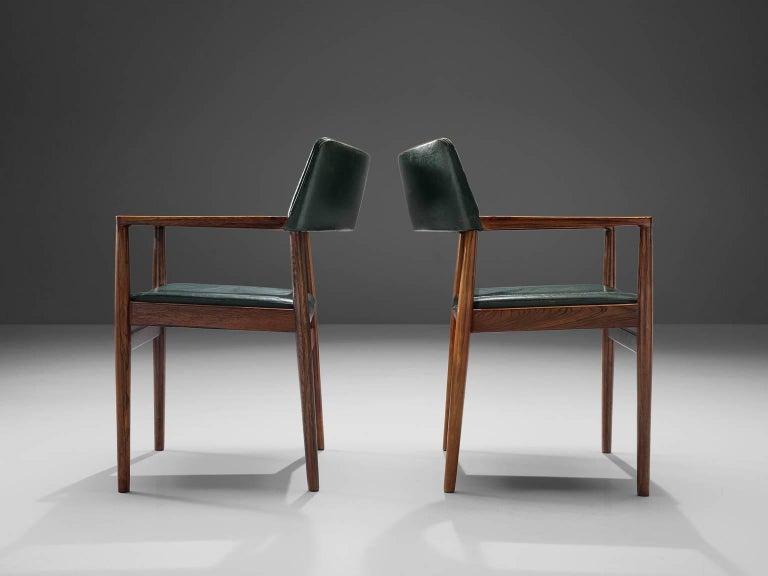 Set of 6 rosewood Bondo Gravesen armchairs, in original green leather, Denmark  In Good Condition In Waalwijk, NL