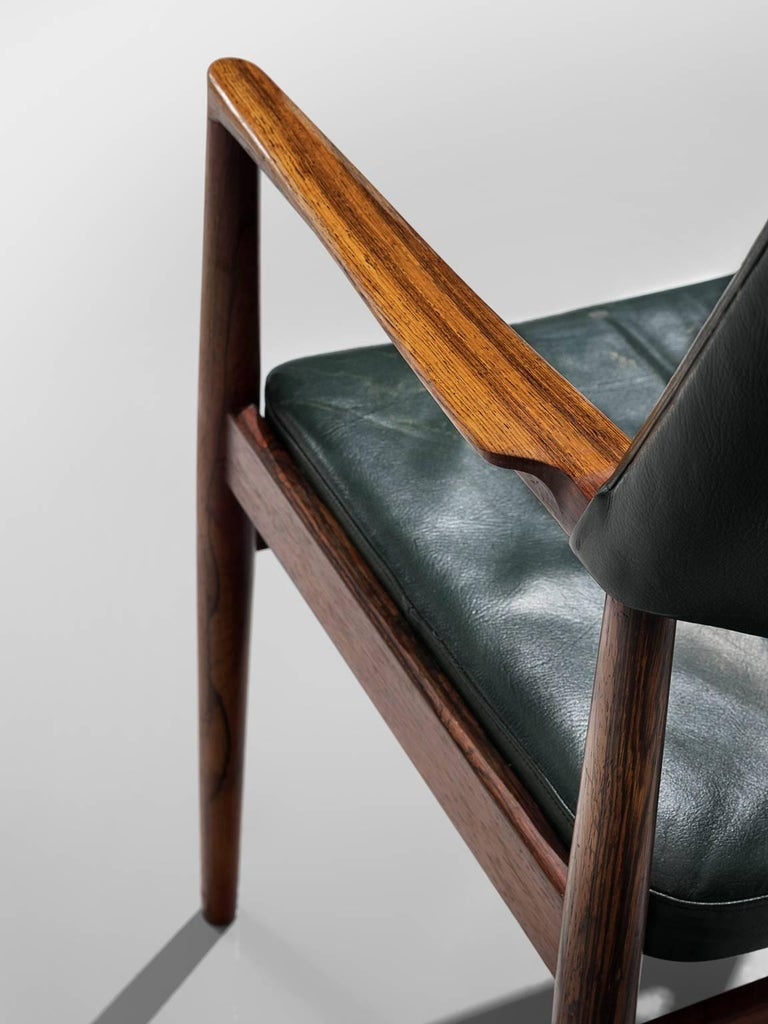 Mid-20th Century Set of 6 rosewood Bondo Gravesen armchairs, in original green leather, Denmark