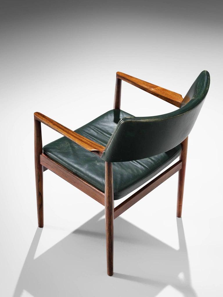 Set of 6 rosewood Bondo Gravesen armchairs, in original green leather, Denmark  1