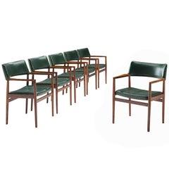 Set of 6 rosewood Bondo Gravesen armchairs, in original green leather, Denmark