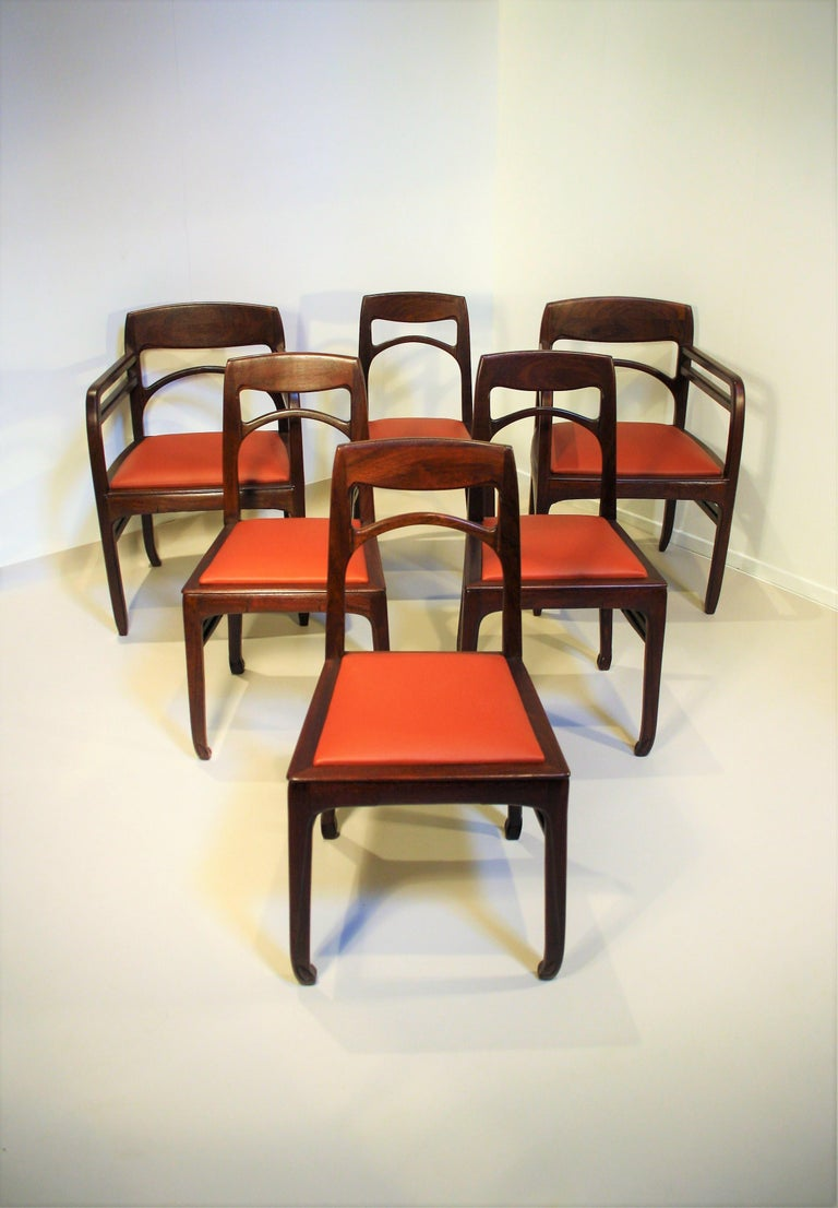 Set of 6 Rosewood Chairs from Richard Riemerschmid For Sale 10