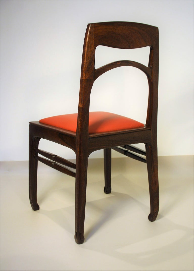 Leather Set of 6 Rosewood Chairs from Richard Riemerschmid For Sale