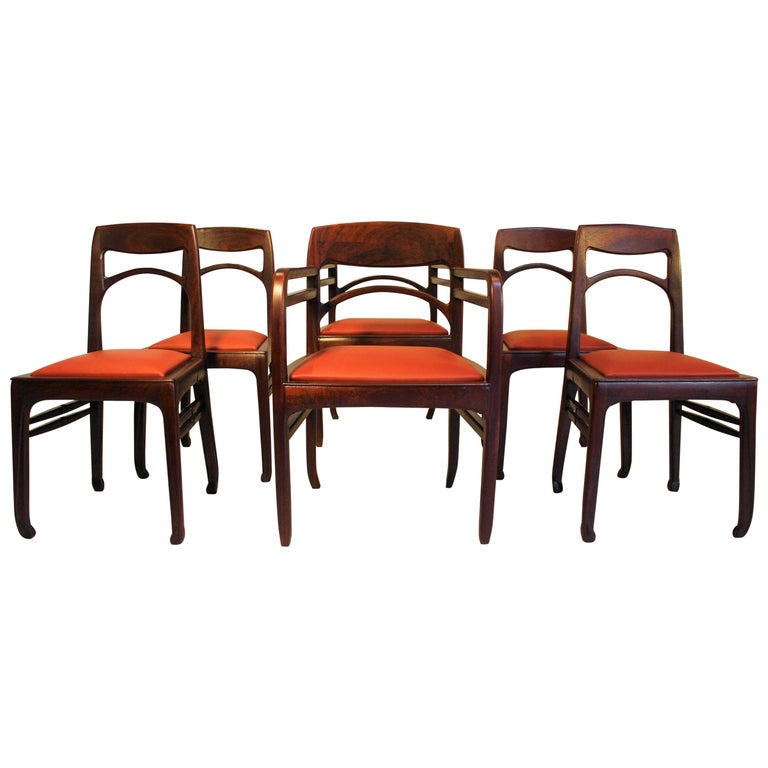 Set of 6 Rosewood Chairs from Richard Riemerschmid For Sale