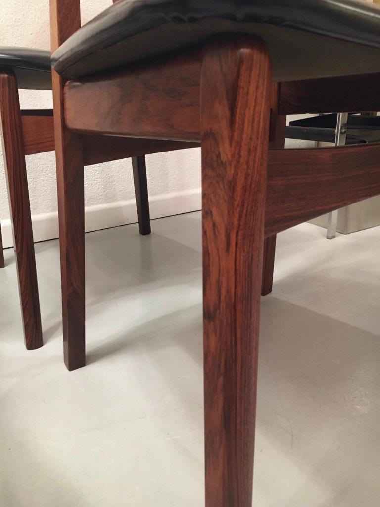 Set of 6 Rosewood Dining Chairs by Henning Kjaernulf for Bruno Hansen, Denmark 4