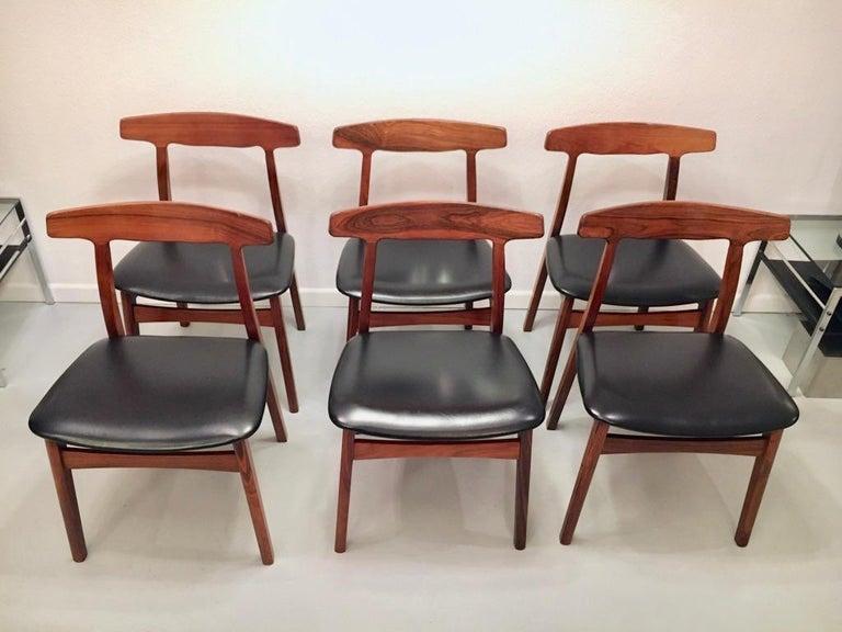 Set of 6 Rosewood Dining Chairs by Henning Kjaernulf for Bruno Hansen, Denmark 6
