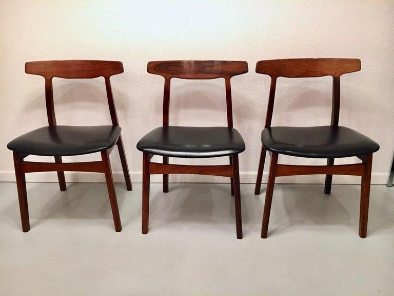 Set of 6 Rosewood Dining Chairs by Henning Kjaernulf for Bruno Hansen, Denmark 7