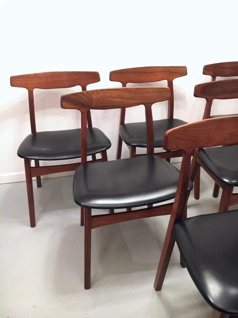 Danish Set of 6 Rosewood Dining Chairs by Henning Kjaernulf for Bruno Hansen, Denmark