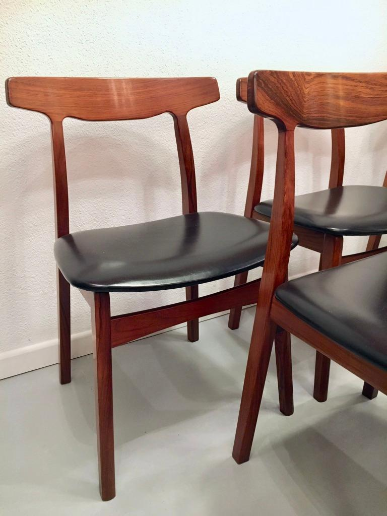 Set of 6 Rosewood Dining Chairs by Henning Kjaernulf for Bruno Hansen, Denmark In Excellent Condition In Geneva, CH