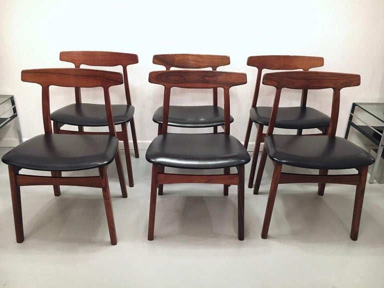 Mid-20th Century Set of 6 Rosewood Dining Chairs by Henning Kjaernulf for Bruno Hansen, Denmark