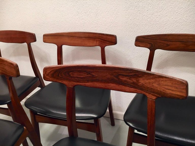 Faux Leather Set of 6 Rosewood Dining Chairs by Henning Kjaernulf for Bruno Hansen, Denmark