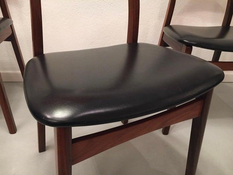 Set of 6 Rosewood Dining Chairs by Henning Kjaernulf for Bruno Hansen, Denmark 2