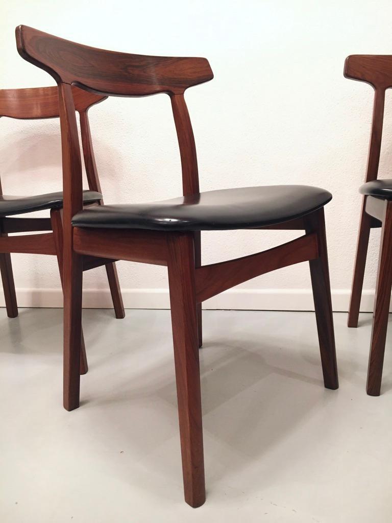 Set of 6 Rosewood Dining Chairs by Henning Kjaernulf for Bruno Hansen, Denmark 3