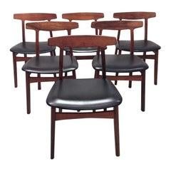 Set of 6 Rosewood Dining Chairs by Henning Kjaernulf for Bruno Hansen, Denmark