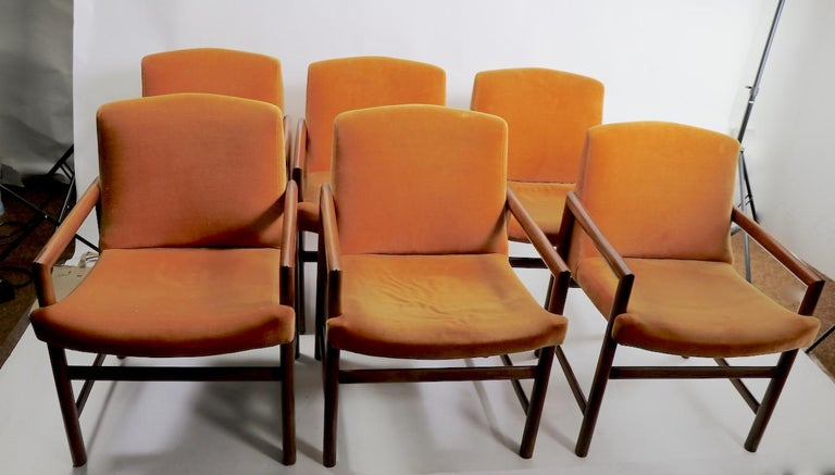 Set of 6 Rosewood Frame Dining Chairs by Baughman For Sale 8