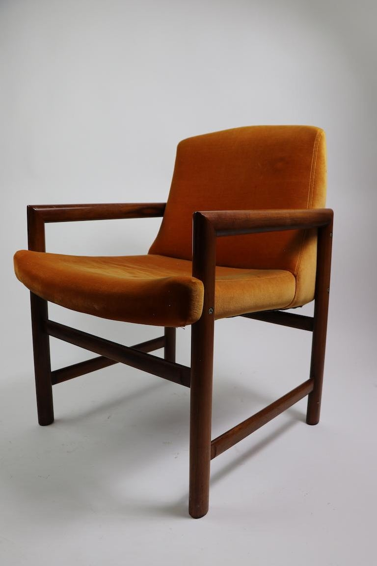 American Set of 6 Rosewood Frame Dining Chairs by Baughman For Sale