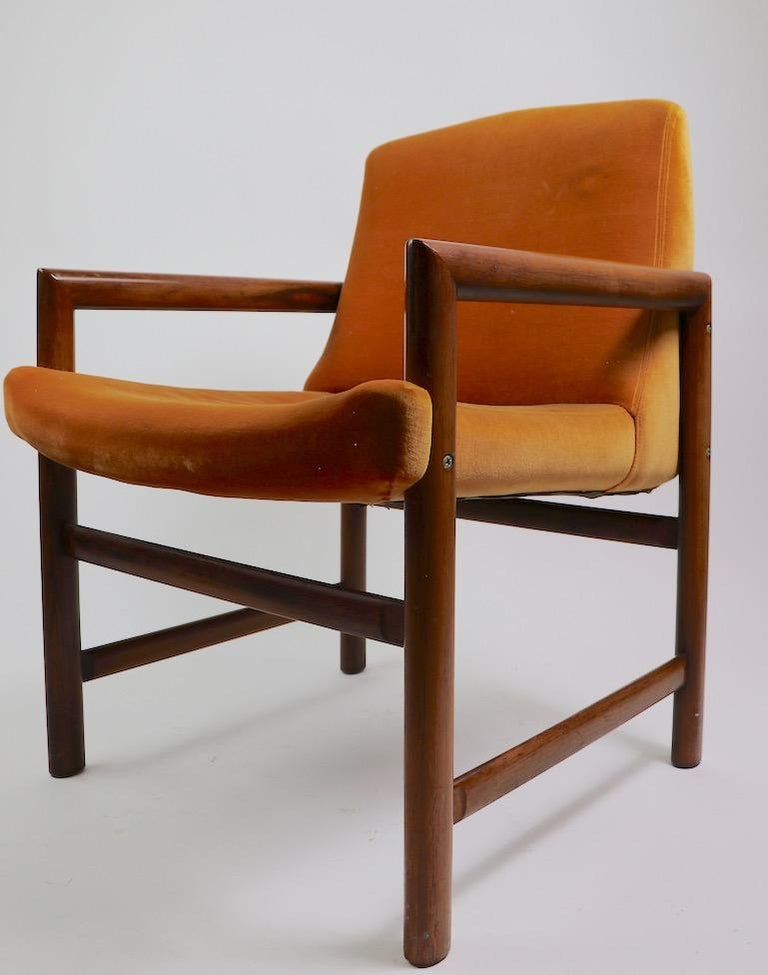 Set of 6 Rosewood Frame Dining Chairs by Baughman In Good Condition For Sale In New York, NY