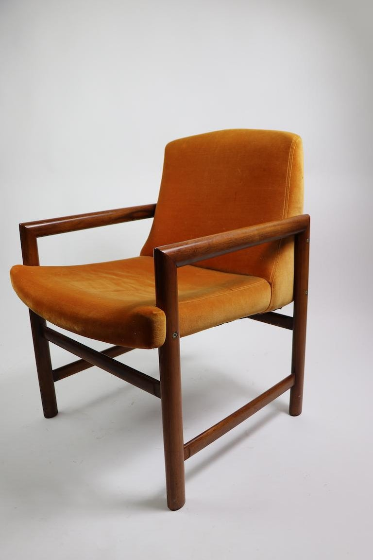 Set of 6 Rosewood Frame Dining Chairs by Baughman For Sale 3
