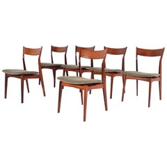 Set of 6 Rosewood H. P. Hansen Dining Chairs for Randers