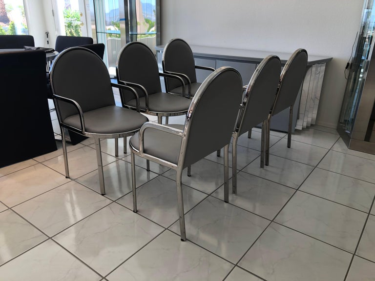 Modern Set of 6 Rougier Postmodern Chrome Dining Chairs For Sale