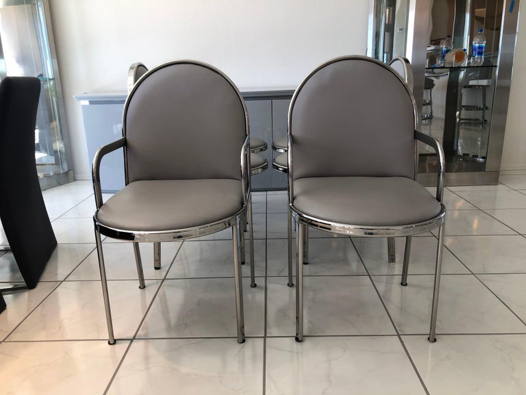 Canadian Set of 6 Rougier Postmodern Chrome Dining Chairs For Sale