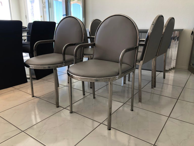 Set of 6 Rougier Postmodern Chrome Dining Chairs In Good Condition For Sale In Tempe, AZ