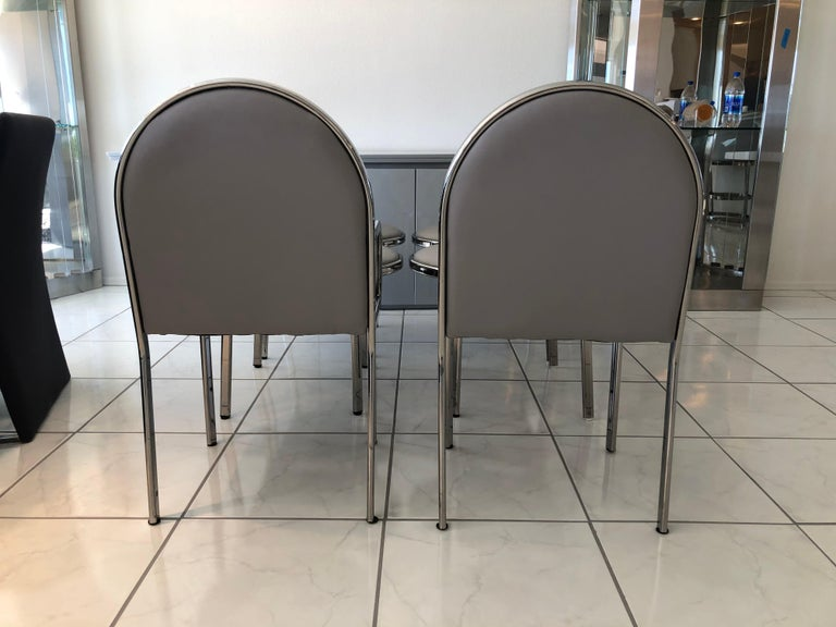 Late 20th Century Set of 6 Rougier Postmodern Chrome Dining Chairs For Sale