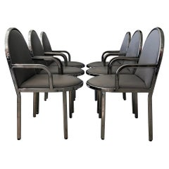Set of 6 Rougier Postmodern Chrome Dining Chairs