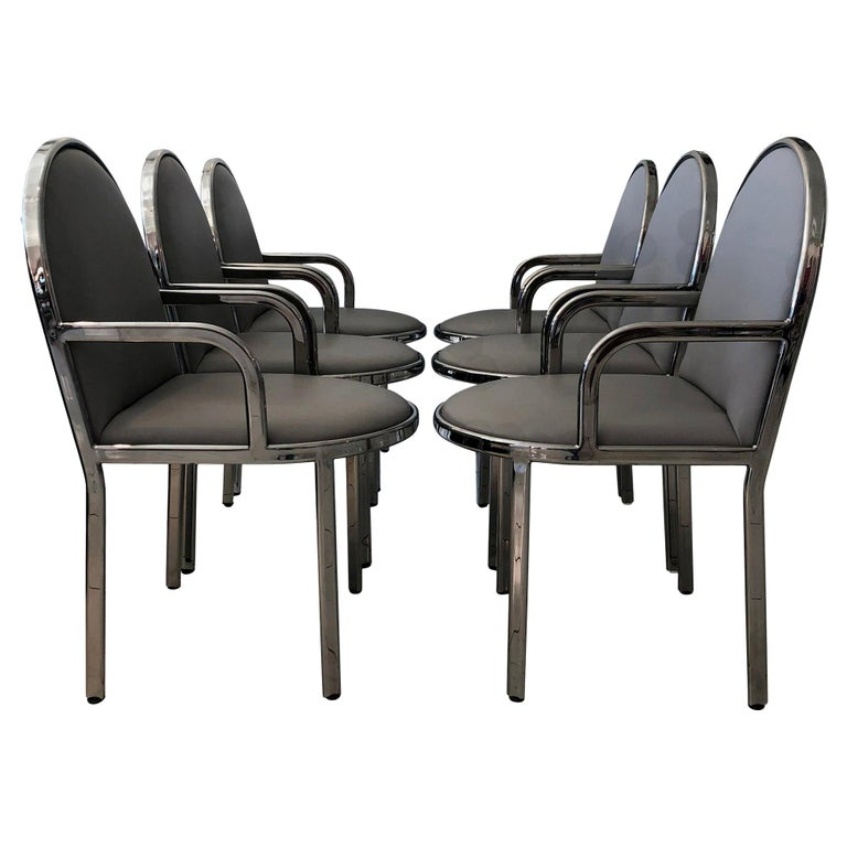 Set of 6 Rougier Postmodern Chrome Dining Chairs For Sale
